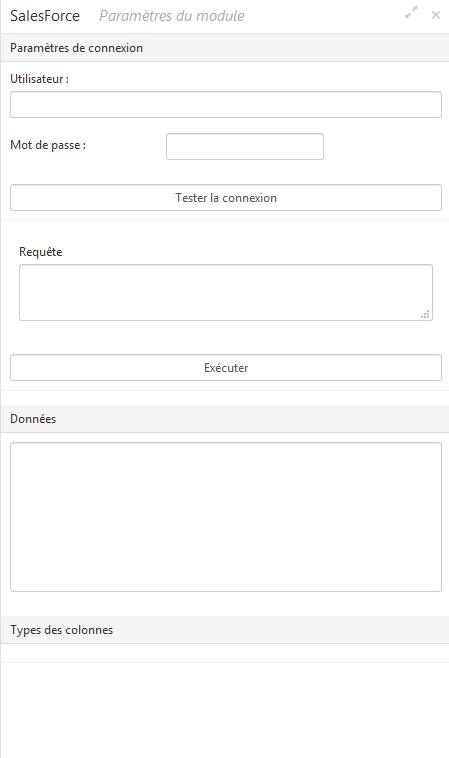 Interface du module Salesforce dans Cartes & Données