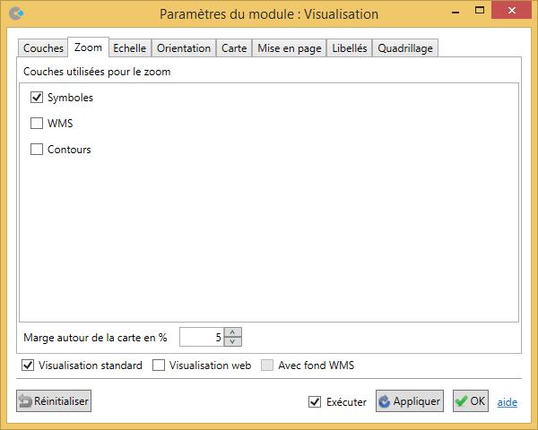 Paramètres du module dans Cartes & Données
