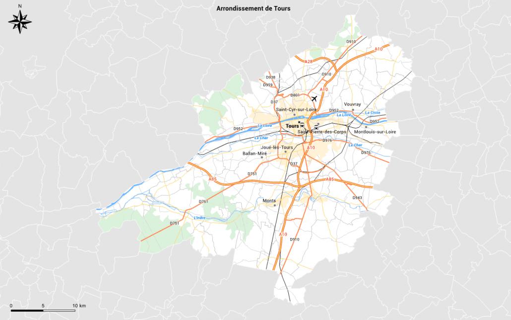 Carte du réseau routier avec habillage personnalisé