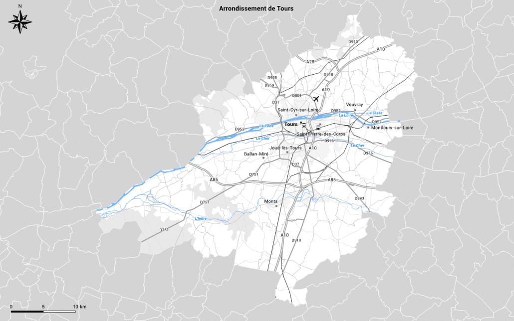 Carte du réseau routier personnalisée en gris