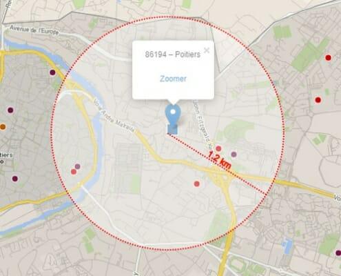 Distances à vol d'oiseau mesurées dans Cartes & Données