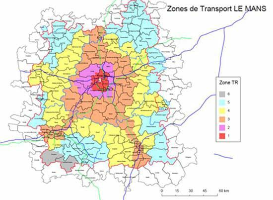 Creer une zone de chalandise : les transports dans la metropole du Mans