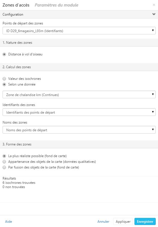 Le module zone d'accès dans Cartes & données
