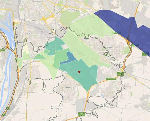 Zone d'influence d'une agence à Lyon