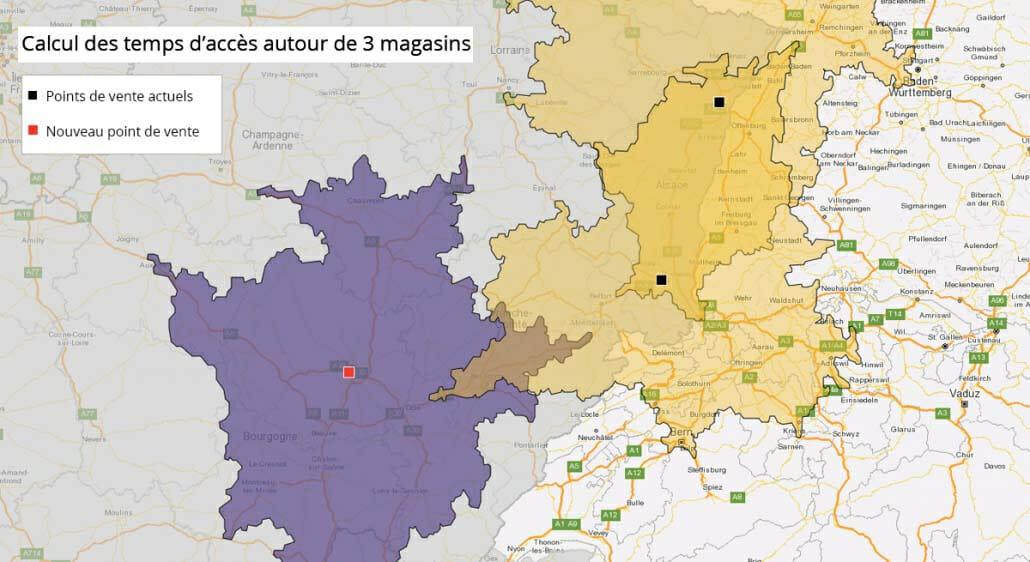 Cartographie des temps d'accès de points de vente