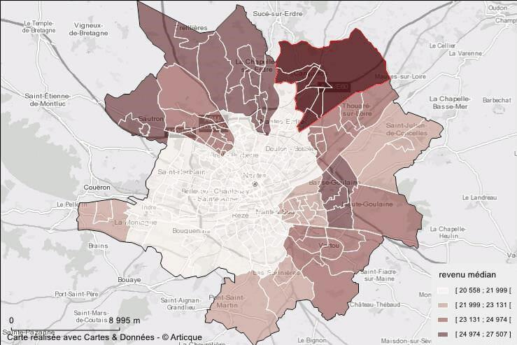 Cartographie du revenu médian à Nantes