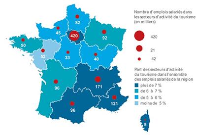 Cartographie de l'emploi touristique en France
