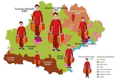Répartition des emplois salariés du tourisme en Occitanie