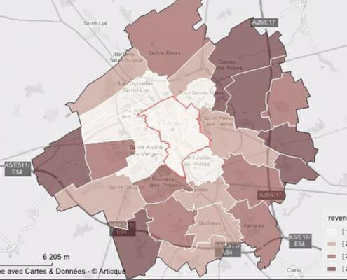 Cartographie du revenu média