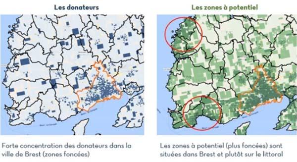 carte des donateurs dans la ville de brest
