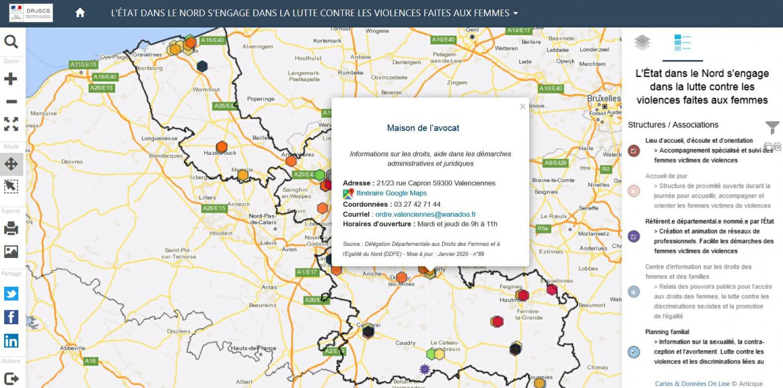 Carte de la drjscs sur les violences faites aux femmes avec la maison de l'avocat