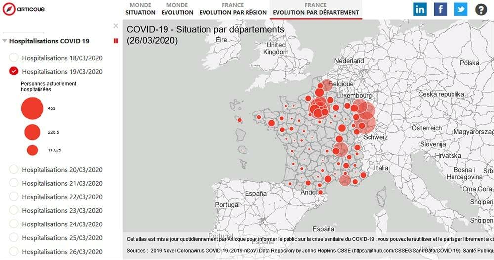 Epidemie de coronavirus : etat des hospitalisations par departement en France