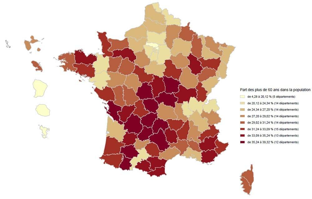 Proportion des plus de 60 dans la population française