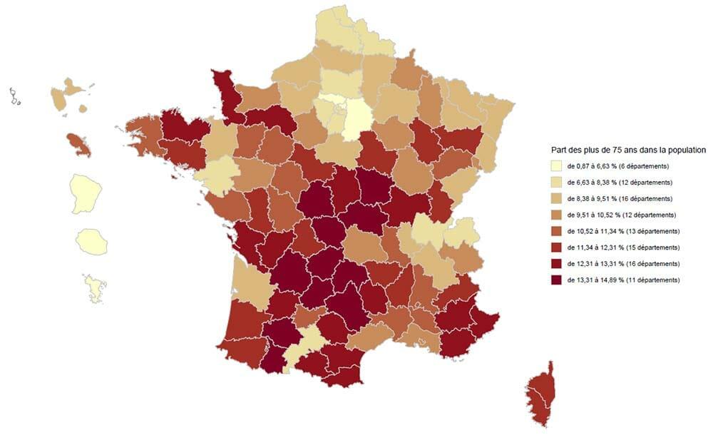 Proportion des plus de 75 dans la population française
