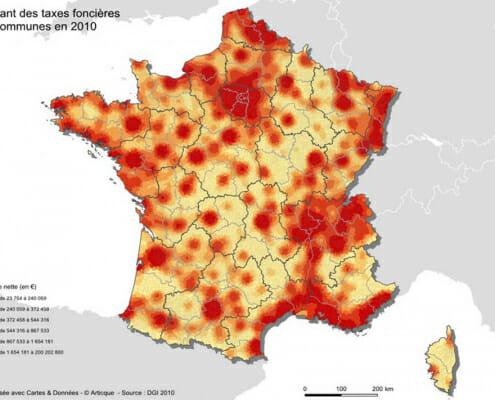 Profession cartographe : carte des taxes foncières en France en 2010
