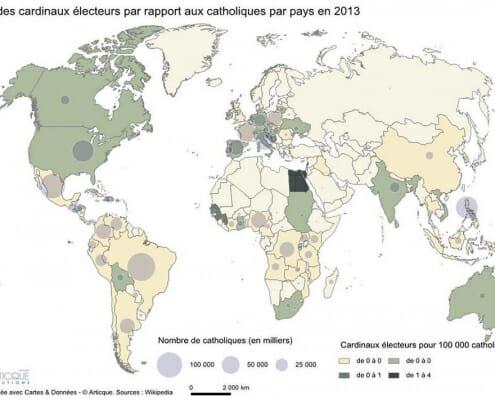 Cartographie de la part des cardinaux électeurs par pays en 2013