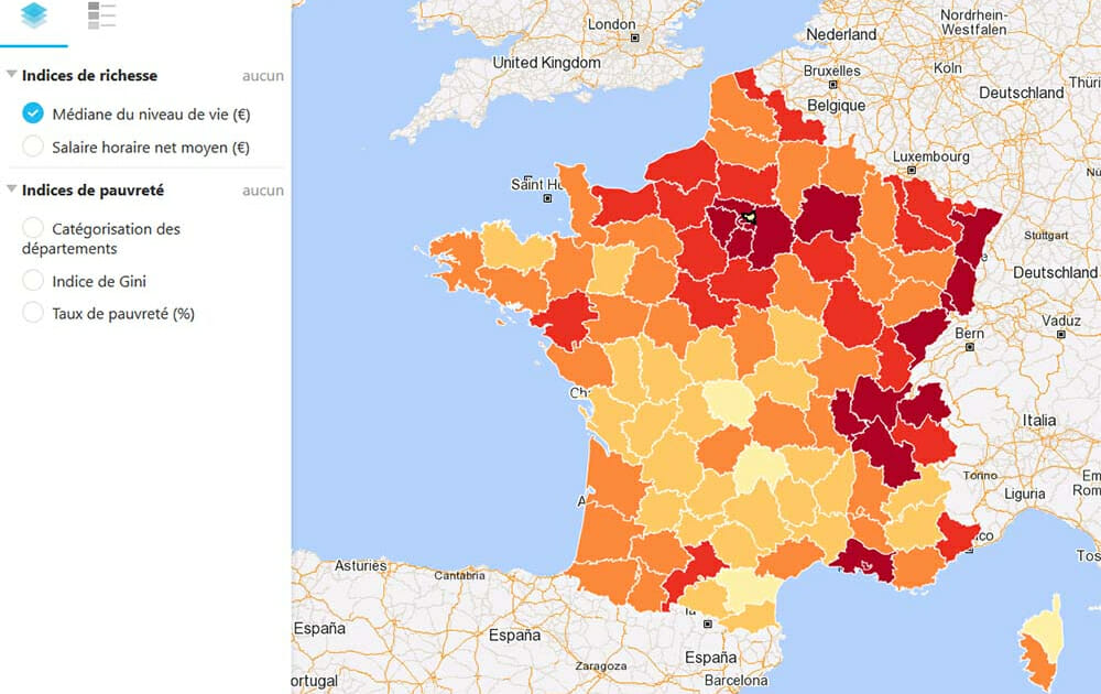 Cartographie de la médiane du niveau de vie en France