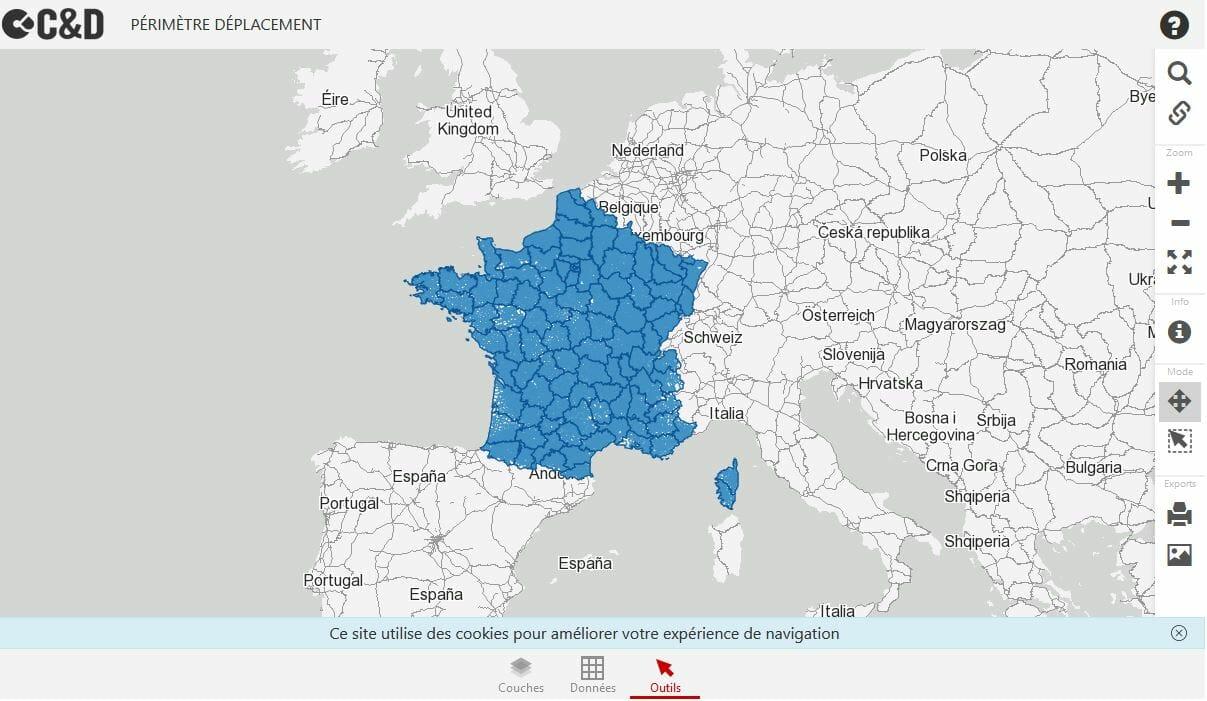 carte de deplacement 10 km