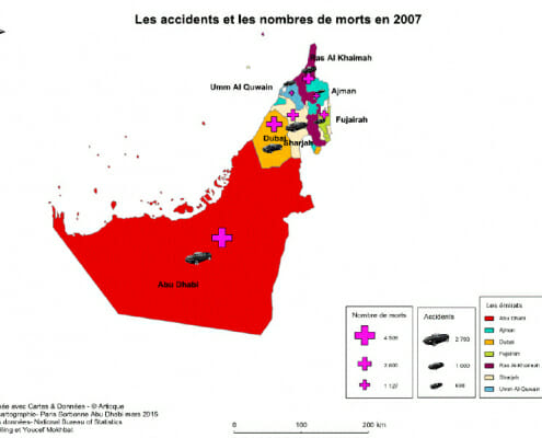 Carte des accidents mortels ou non aux emirats arabes unis en 2007