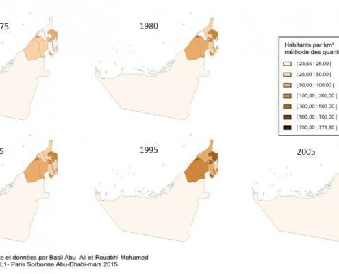 Carte du nombre d'habitants au km²