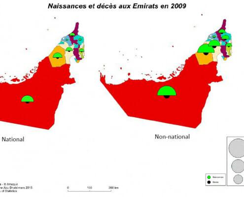 Cartographie des naissances et des décès aux emirats arabes unis