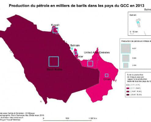 Carte de la production du petrole en 2013 dans le Conseil de coopération du Golfe