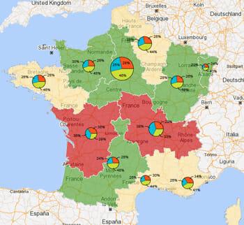 Cartographie des federations sportives sur le territoire francais