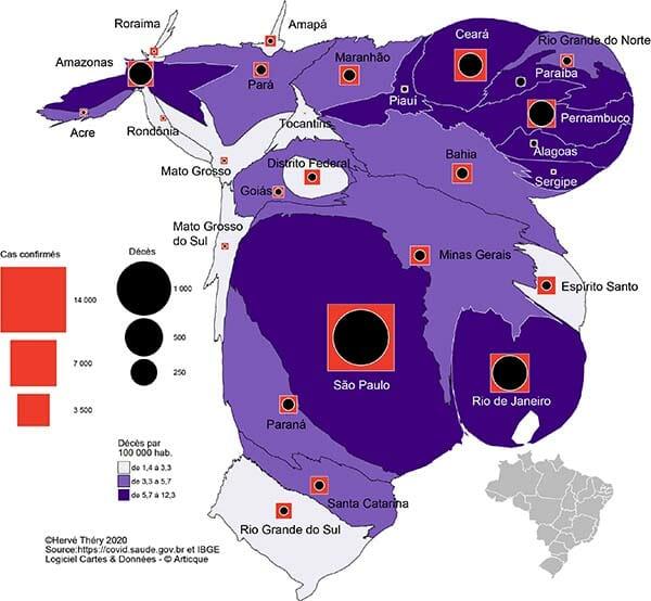 La population du Brésil et le coronavirus