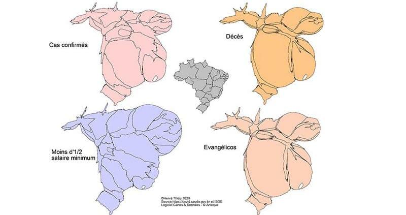 Cartes en anamorphose du Bresil durant l'épidémie de covid 19 : nombre de cas confirmés, nombre de décès, répartitions de la population touchant moins d'1/2 salaire et de la communauté evangelica