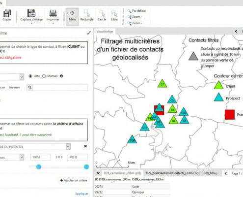 Visualisation du filtrage multicriteres