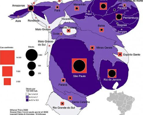 Carte en anamorphose de la population et nombre de cas confirmés/décès par État