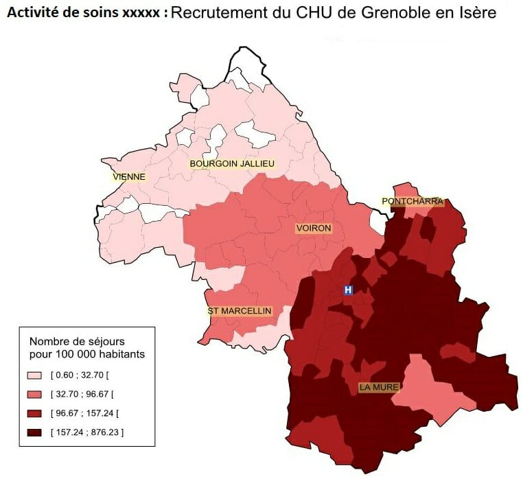 Carte du recrutement de patients du CHU de Grenoble