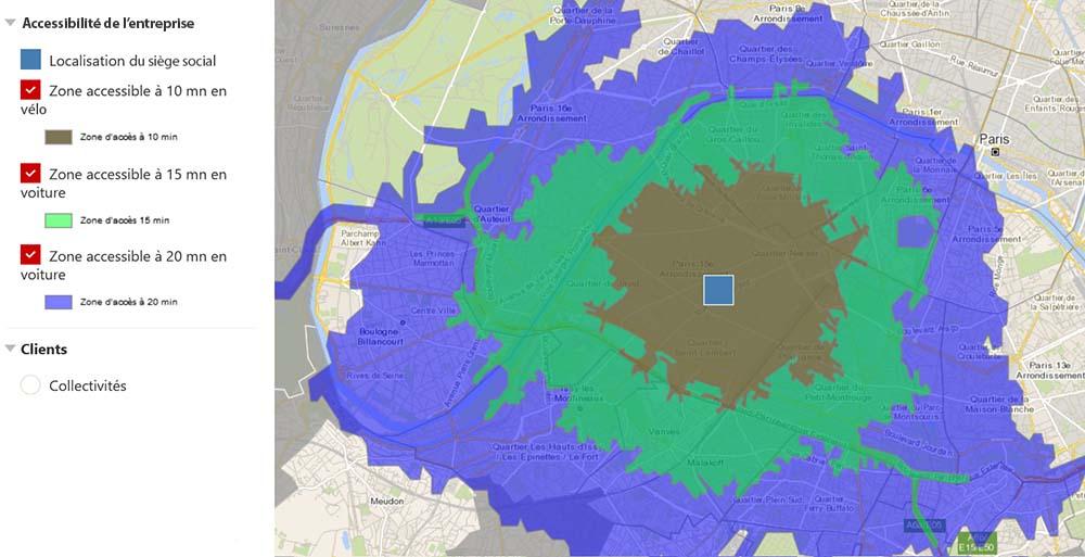 Empreinte carbone : la carte isochrone d'une entreprise parisienne