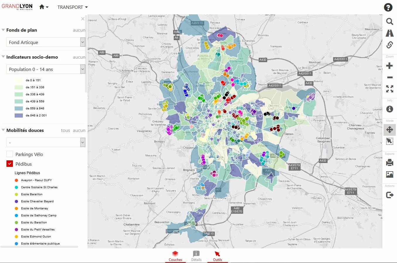 infrastructures de transport de la metropole du Grand Lyon