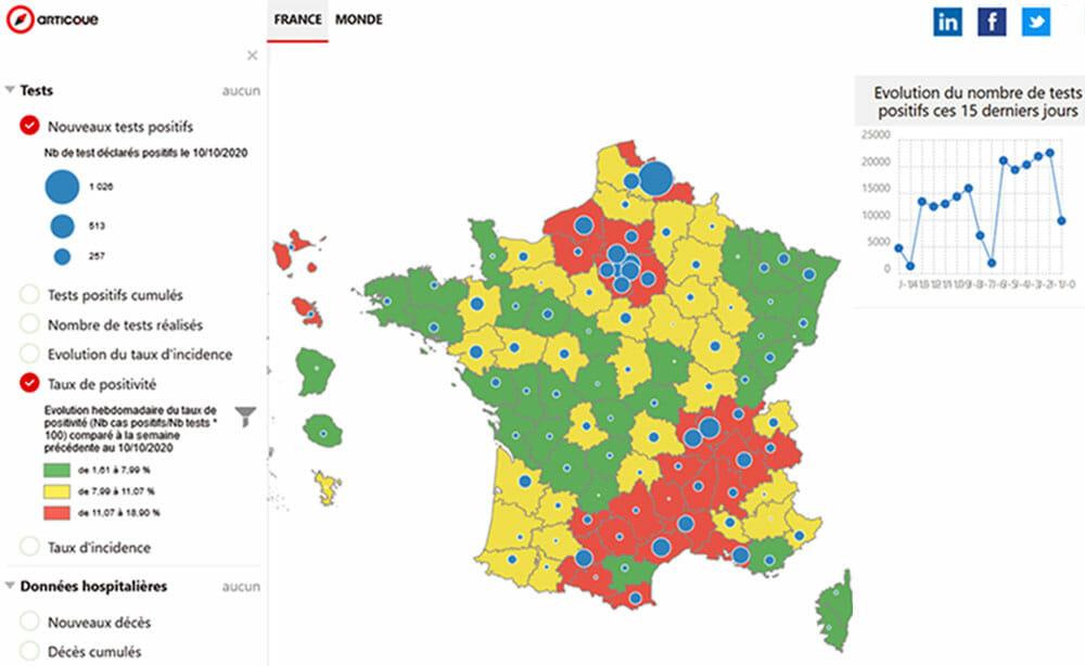 Carte GeoNews : l'epidemie de covid en france