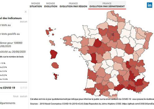 Carte en couleurs : taux de positivite par departement francais