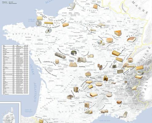 Carte des fromages de France par Blay-Foldex
