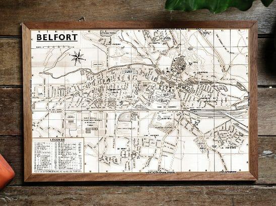 Plan de ville vintage de Belfort