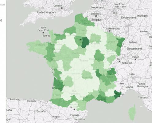 carte du nombre de nuitees pour le departement de l'allier