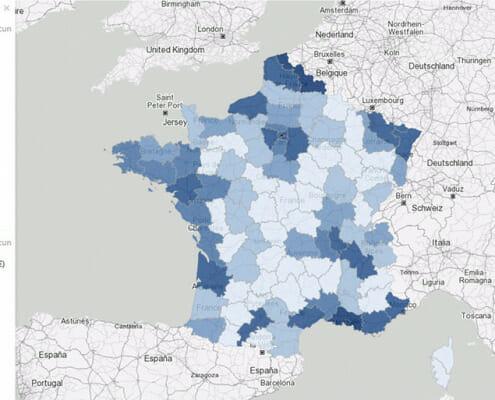 Les tranches d'age de la population francaise par departement