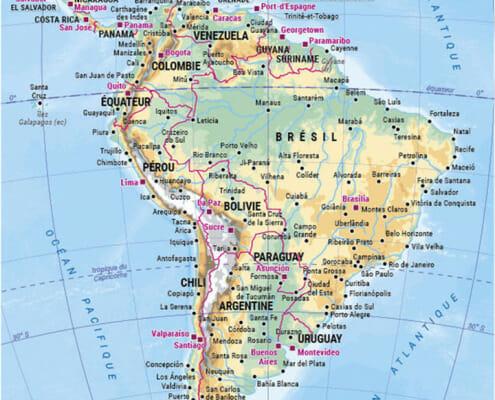 la carte de l'amerique du sud