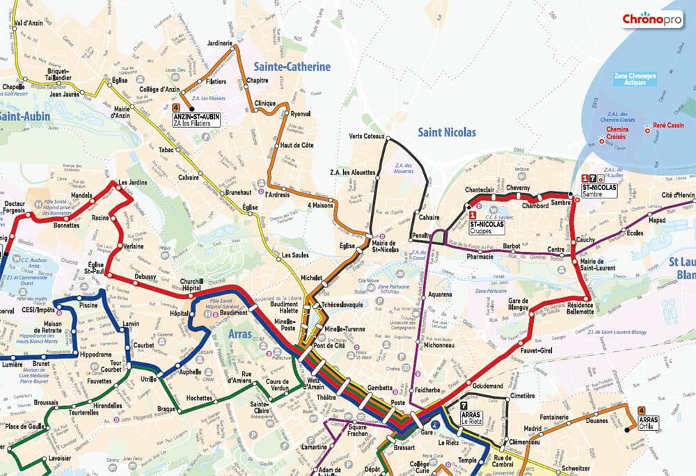 plan de bus transdev d'arras