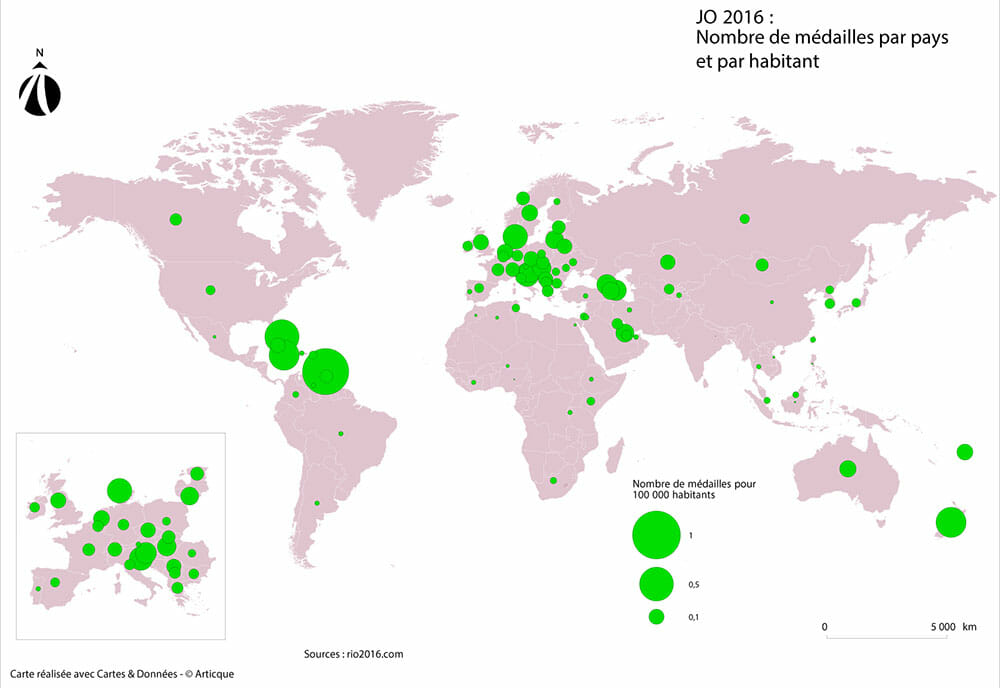 ratio de medailles par pays aux jeux olympiques de rio de janeiro 2016