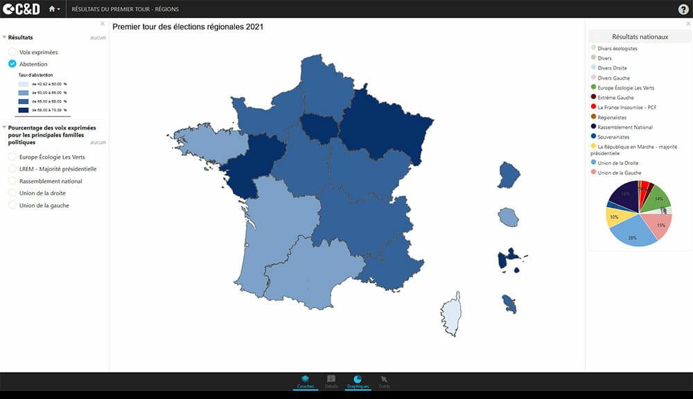 Carte du premier tour de l'election régionale 2021