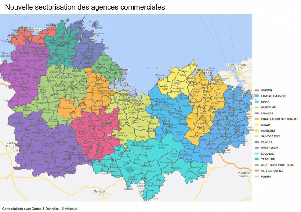 data et nouvelle sectorisation d'agences