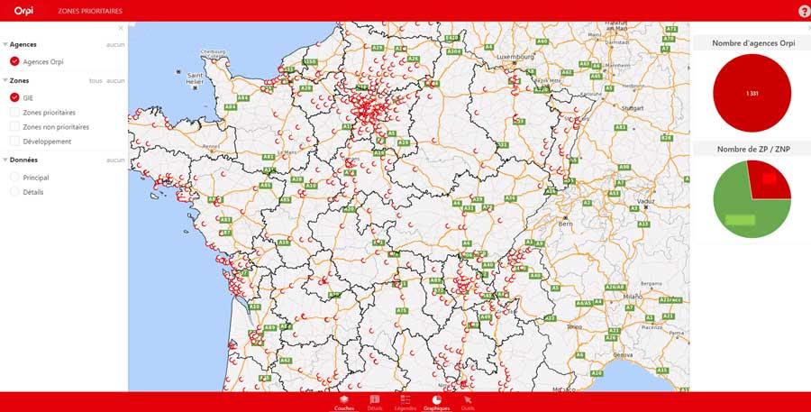 Cartographie du réseau d'agences Orpi