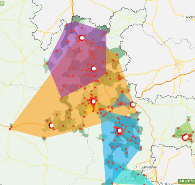 cartographie des zones de chalandise d'agences immobilières