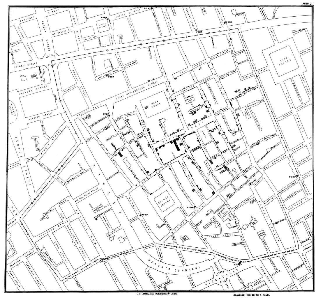 Carte de John Snow du choléra à Soho en 1854