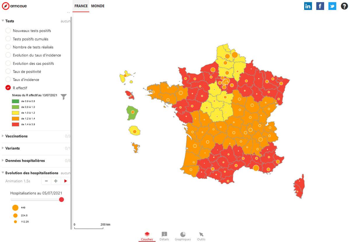 R effectif en France