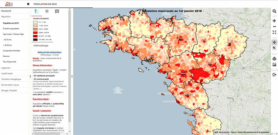 Observatoire du logement : population par commune en 2018 dans l'Ouest